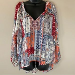 By Together Long Sleeve Boho Patchwork Blouse